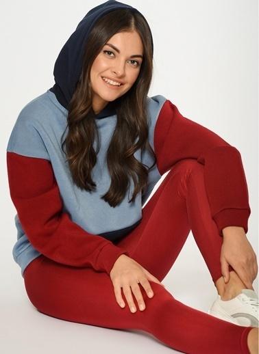 Loves You Renkli Bloklu Şardonlu Kapüşonlu Sweatshirt Mavi